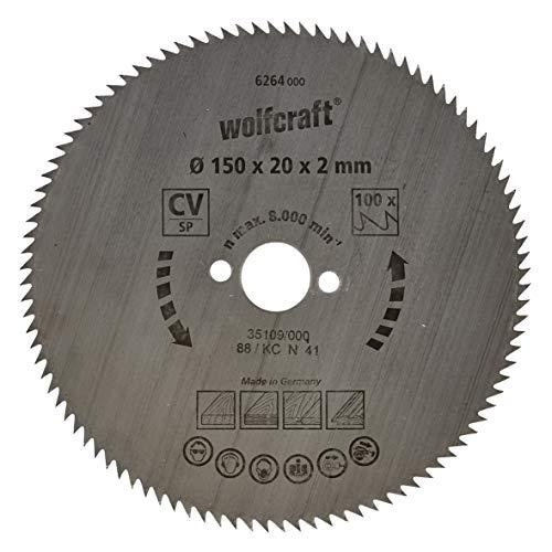 Wolfcraft 6264000 - Disco de sierra circular CV, 100 dient., serie azul Ø 150 x 20 x 2 mm