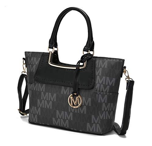MKF Crossbody Shoulder Bag for Women – PU Leather Top Handle Pocketbook – Roomy Tote Satchel Handbag Purse M Charm Dark Grey