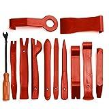 nbvmngjhjlkjlUK 12PCS / Set Universal Panel Removal Open Pry Tools Kit 12pcs Car Dash Door Car Radio Trim Set Car Stereo Installation Kit (Rojo)