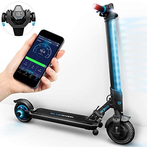 Marktneuheit 2018! Elektroscooter IX300 von Bluewheel mit Smartphone APP & Multicolor LED & LCD-Display, Li-Ion Akku bis 20km*, klappbarer Bluetooth City Elektro-Roller E-Scooter Erwachsene & Kinder