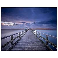 artaslf 5D DIYダイヤモンド絵画フルスクエアブリッジ海の風景ペイントダイヤモンド刺繡装飾ホーム-40x50cmフレームなし