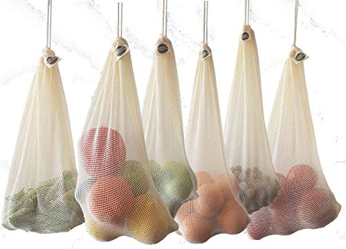 [6-Pack] ECO MORE 100% Organic Reusable Mesh Produce Grocery Bags. Washable Mesh Net Bags. 3xL & 3xM - Organic GOTS Certified Cotton. Storage for Fruit Vegetables Grocery Herbs Pasta Dry Produce