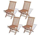 Conjunto de silla plegable de jardín exterior de madera, 4 sillas de comedor de jardín con reposapiés para jardín, patio, patio, terraza, 46 x 47 x 89 cm
