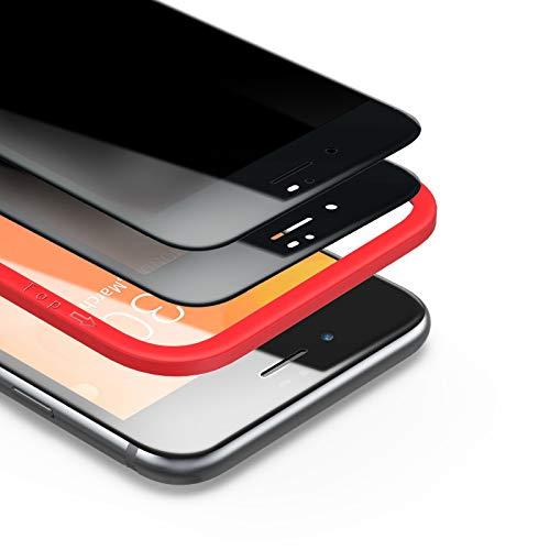 BANNIO Pellicola Privacy per iPhone 7 Plus/iPhone 8 Plus,2 Pezzi Curva 3D Full Screen Vetro Temperato,Anti Spy Pellicola Protettiva Copertura Totale Protezione Schermo per iPhone 7 Plus/ 8 Plus,Nero