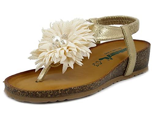 BioNatura, Sandalias de mujer de oro con plantilla de piel acolchada, cuña baja, 12PALMA Dorado Size: 39 EU