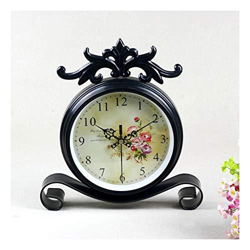 LYM $Digital Alarm Klok Tafel Klok Landelijke Stijl Metalen Nachtkastje Klok/Iron Pendulum Klok Zittend Zwart Thuis Alarm Klok