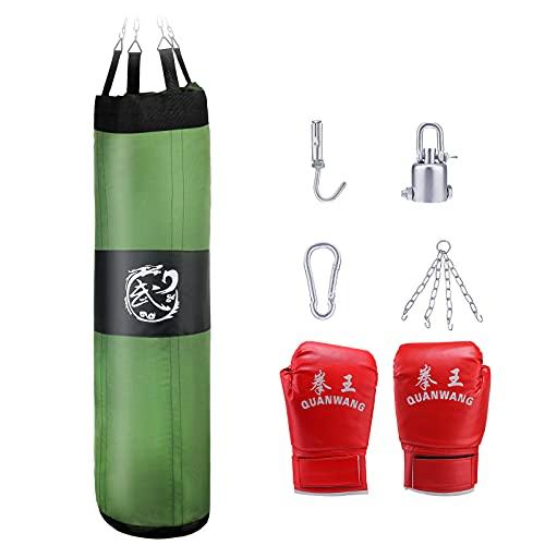 TTLIFE Kit de Sacos de Boxeo 5-en-1 Sin Relleno,150 cm Bolsa Pesada de Kick Boxing Carga hasta 35 kg,Entrenamiento de Boxeo con Sacos de Arena,para niños Adultos