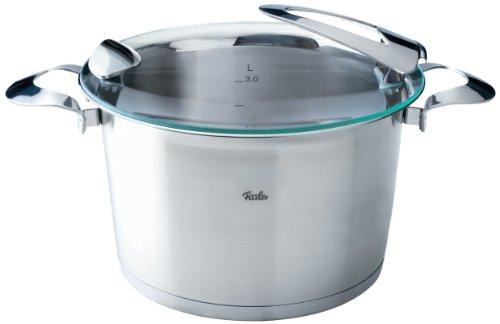 Fissler solea / Edelstahl-Topf (Ø 24cm, 6,5 L) hoher Kochtopf mit Glas-Deckel, Innen-Skalierung, rostfrei - Induktion