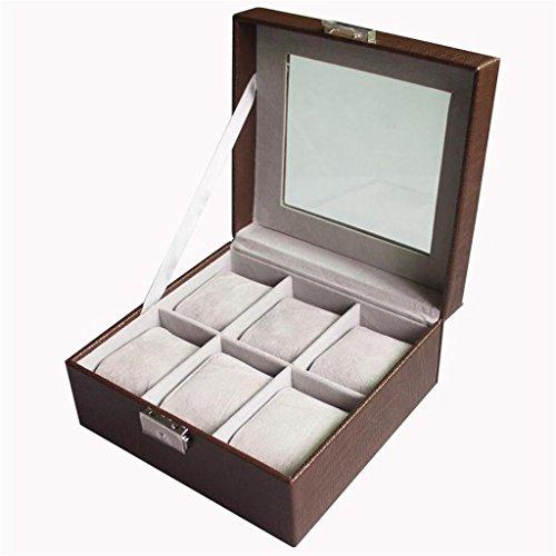 CHUANMEI Caja de Reloj de Cuero/Caja Cuadrada de la colección de la Tabla Seis/Caja de exhibición, Regalo de cumpleaños, decoración casera, Coffee Color