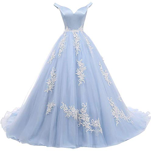 Zyhappk A Line Off Shoulder Evening Dresses for Women Empire Waist Quinceanera Ball Gown Formal Celebrity Appliqued Lace Satin Women Dresses ZY10 Sky Blue Size 14