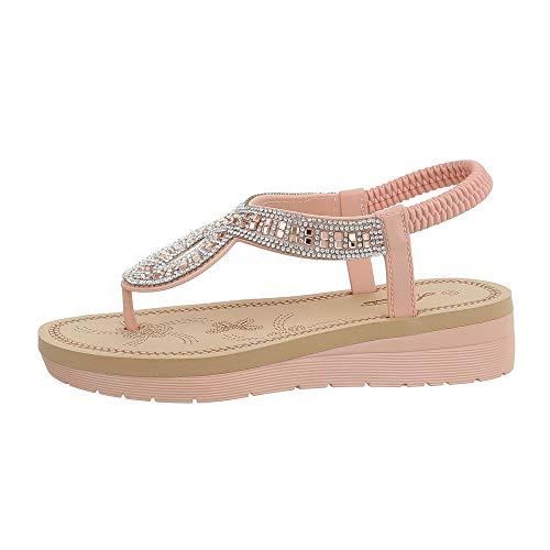 Ital-Design Damenschuhe Sandalen & Sandaletten Zehentrenner Gummi Altrosa Gr. 37