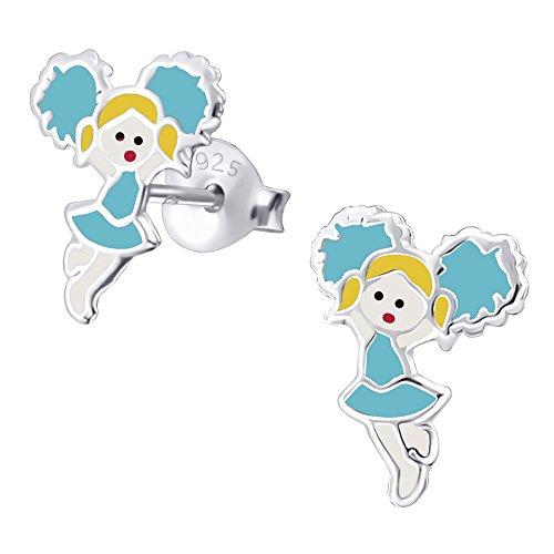 Laimons Kids Orecchini a pressione per bambini gioielli per bambini Cheerleader Blu, Giallo, Rosso Argento Sterling 925