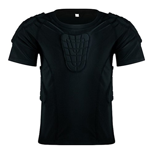 Youth Padded shirts Short Sleeve Compression Protective T Shirt Rib Chest Back Protector for Football MMA Baseball Hockey Soccer Basketball Parkour Paintball Snowboard Ski Volleyball Training Size YL