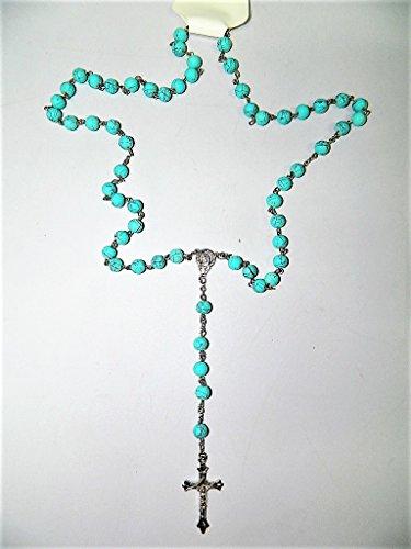 Chapelet en verre turquoise et crucifix croix taille ronde