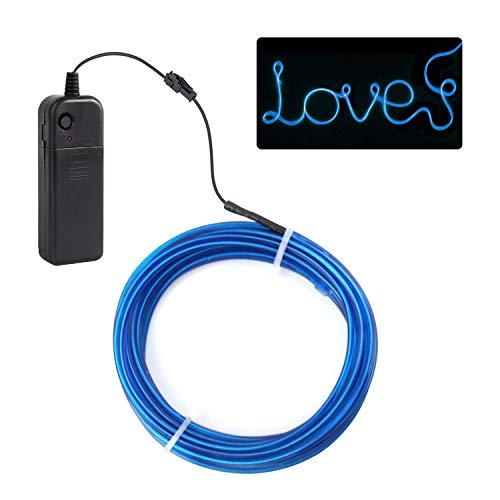 Jiguoor 5M EL Wire Fil Neon Flexible Lumineux, Le Fil Lumineux Souple, LED Guirlande Lumineuses Electroluminescent Tube Lumineux, Décoration de Voiture d'halloween Noël Boites de Nuit Vélo(Bleu)