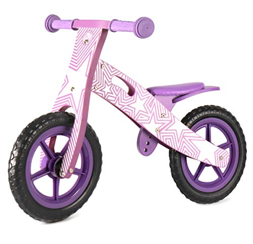Nicko Purple Star Kids Children's Wooden Balance Bike NIC858