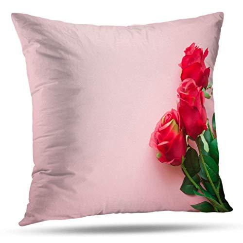 Fundas de Almohada Hermosas Rosas Rojas Rosa Pastel Minimalismo Mockup Refranes positivos positivos Fundas de Almohada Planas Cojín Uso para Sala de Estar Cama Sofá