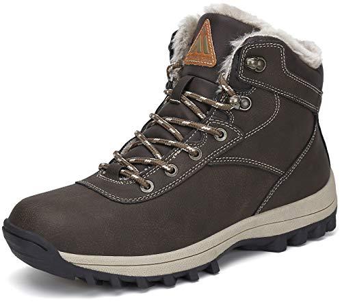 Mishansha Hombre Botas Invierno Cálido Trekking Zapatos Impermeables Nieve Zapatos Antideslizante Calzado de Senderismo Ligero Zapatos Deportivos Cómodas Marrón Botas 43