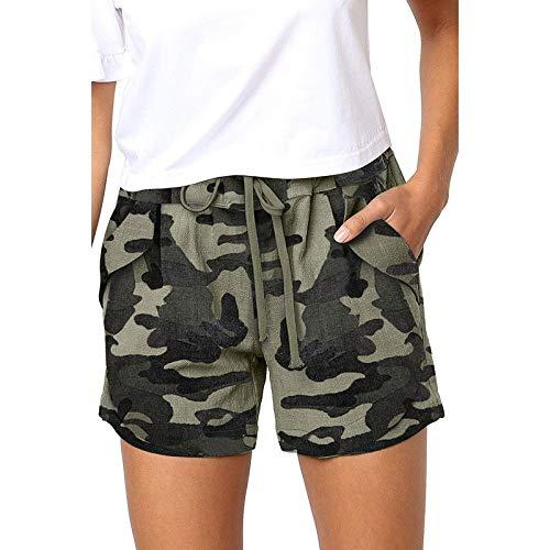 TOTOD Women Shorts Ladies Summer Leopard/Camouflage/Stripe Print Lace-up Elastic Pocket Comfy Shorts