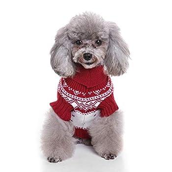 Tineer Pet Xmas Pull-Overs - Pull Chiot Sweater à Capuche Tricots Halloween Cartoon Chaud Manteau vêtements de Noël pour Petits Chiens Moyens Chats Lapins (S, Renne - Rouge)