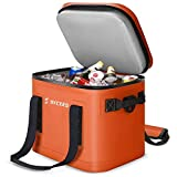 SYCEES 30-Can Portable Insulated Soft Cooler Bag, Leakproof & Waterproof with Bottle Opener and Shoulder Strap for Camping, Hiking, Fishing, Golf, Travel, Picnic, Beach (Orange)