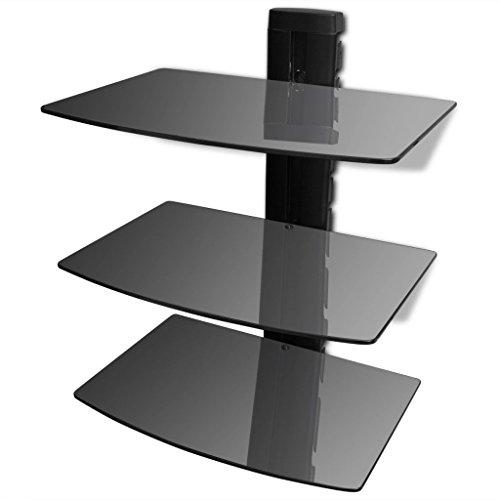 Tidyard Soporte de Pared Vidrio Templado para Reproductores Receptores BLU-Ray Consolas DV TV Accesorios Soporte DVD de Pared con 3 Estantes Altura Ajustable Máxima de Carga/Estante 15kg Negro