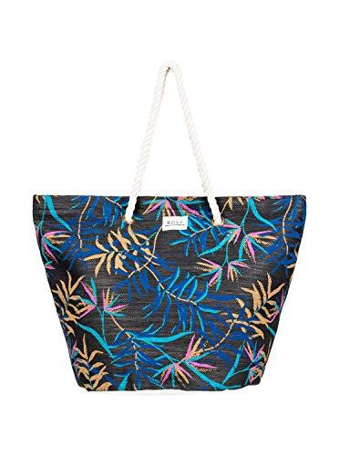 Roxy Sunseeker - Straw Beach Bag - Anthracite Wild Leaves S, 1SZ