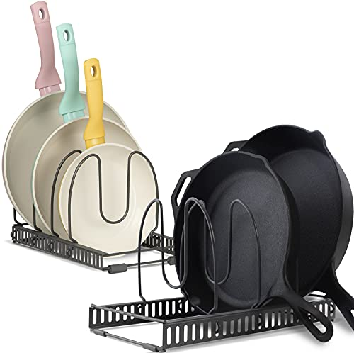 BTH Organizer with 2 Racks and 8+ Dividers: Scratch-Resistant Expandable Pot and Pan Storage Rack for Kitchen Cabinet with 8 Adjustable Compartments - Expand or Separate as 2 Racks (8 inch, Dark Grey)