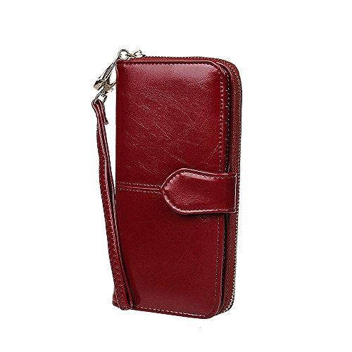 xhorizon TM Portafoglio da donna in pelle con zip, di grande capacità, Clutch Pochette con cinturino per polso estraibile per iPhone SE