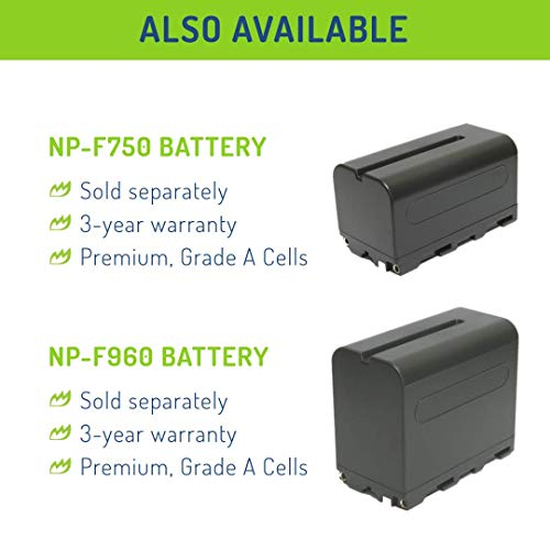 Wasabi Power Battery (2-Pack) and Charger for Sony NP-F330, NP-F530, NP-F550, NP-F570 and CN-160, CN-216, CN126 Series