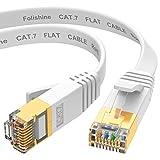 Cable Ethernet 5m, cat7 cable Ethernet de alta velocidad, cables de conexión LAN plana con conectores STP RJ45 para router, módem, más rápido que Cat5e/Cat5/Cat6/Cat6e - Blanco