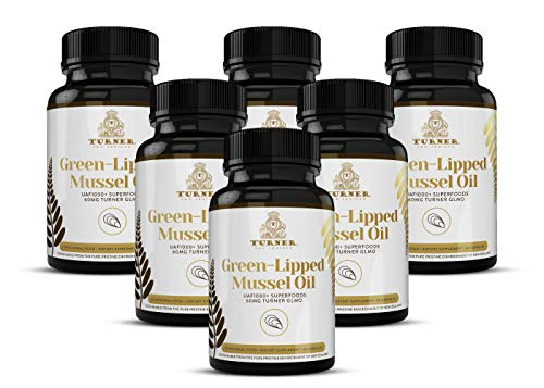 TURNER Green Lipped Mussel Oil New Zealand,  Omega 3 with UAF1000+, Joint Pain Relief and Inflammation Supplement, Heart and Immune Support, No Fishy Aftertaste,  450mg, 6 Pack, 360 Count