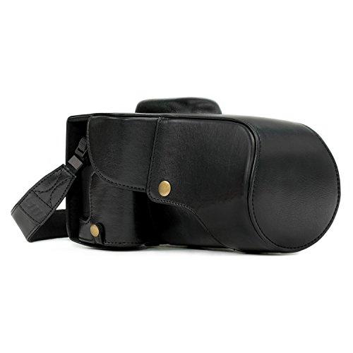 MegaGear lederen cameratas voor Canon EOS 750D / Canon EOS 760D camera met 18-200 (T6i, T6s) compacte systeemcamera (zwart)