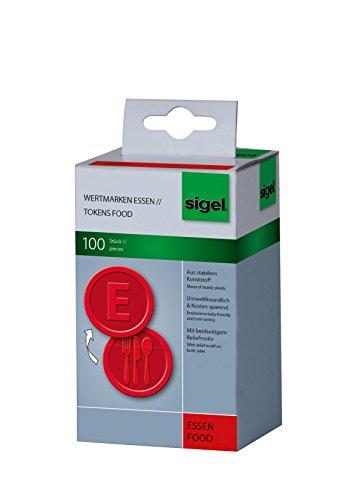 SIGEL WM001 Wertmarken Chips / Pfandmarken Essen, rot, 100 Stück