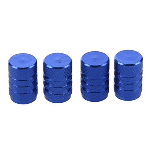 Autoreifen Ventilkappen - SODIAL(R) 4 Stuecke blau Legierung Auto Reifen Ventilkappen Autoventil Verschlusskappen