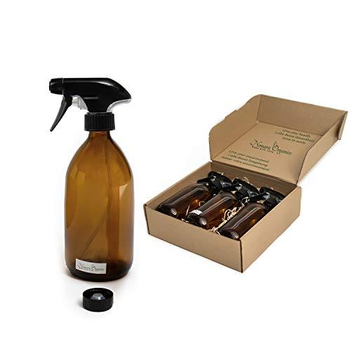 Nomara Organics Sprühflaschen aus Bernsteinfarbenem Glas, 3 x 500 ml, verpackt auf Strohhalm BPA-frei, Auslösepumpe, wiederverwendbar. Geschenk/Küche/Reinigung,