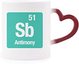 DIYthinker SB Antimonio Elemento químico Chem Morphing Taza Sensible al Calor de la Copa roja del corazón