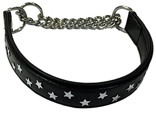 Dogs Stars Black Star - Collare in Pelle Bovina, Colore: Nero