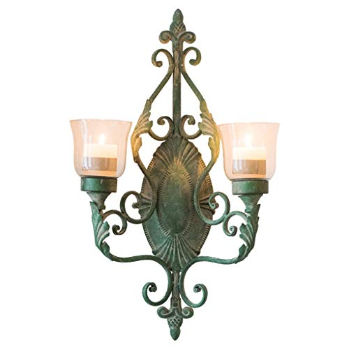 zlw-shop Candelabros Do The Old Vintage Lámpara de Pared Decorativa de Hierro Forjado Grocery Garden Courtyard Candelabros de Pared Portavelas