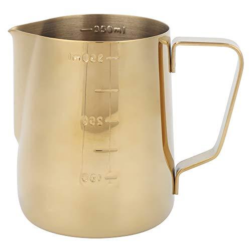 Taza de espuma de leche de café de acero inoxidable dorado espesado, jarra de café con leche, olla de mano con báscula para restaurantes caseros(350ml)
