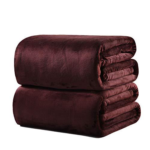 Flanelldecke / Tagesdecke für Queen-Size-Bett, Wolle, superweich & flauschig, warm, Mikrofaser, 50 x 70 cm, 0,18 kg, Kaffeebraun