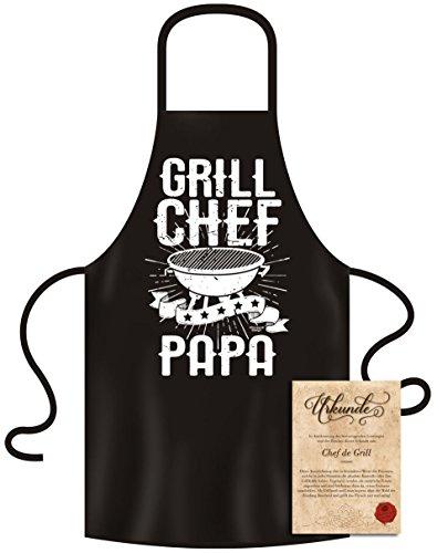 Soreso Design Grillschürze für Männer - Grill Chef Papa - mit Urkunde - Kochschürze Witziges Geschenk für Männer zum Geburtstag