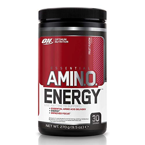 Optimum Nutrition Amino Energy Pre Workout Powder, Energy Drink with Beta Alanine, Vitamin C, Caffeine and Amino Acids, Fruit Fusion, 30 Servings, 270 g, Packaging May Vary