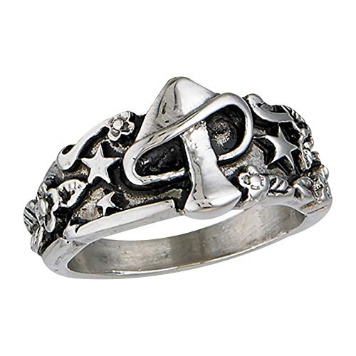 Moent Creative Retro Ring M-ushroom Star Flower Leaves Mysterious Fashion Jewelry Valentine's Day Lovers (Silver, 8)