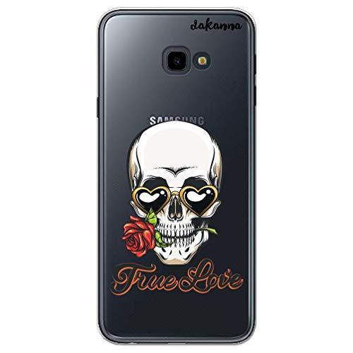 dakanna Custodia per Samsung Galaxy J4 Plus | Teschio e Rosa True Love | Cover in Gel di Silicone TPU Morbido di Alta qualità con Sfondo Trasparente