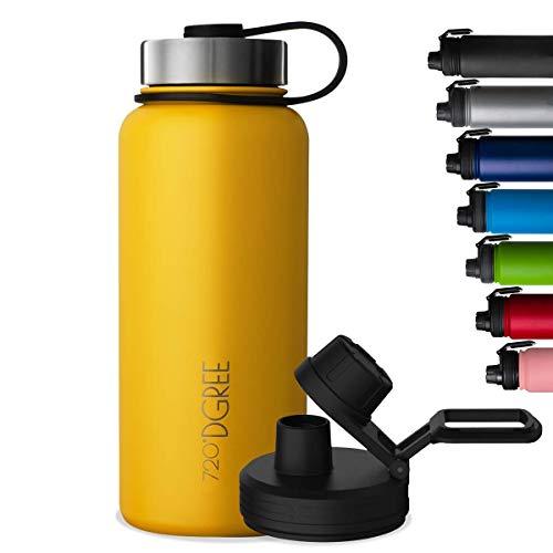 """720°DGREE Bottiglia Termica """"noLimit"""" 410ml - Senza-BPA, Acciaio Inox, Doppia Parete, Prova di Perdite Anche per Acido Carbonico - Borraccia Termos +Tappo Sportivo Gratuito"""