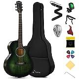 Donner 40 Inch Acoustic Guitar Cutaway Acustica Guitarra Beginner Starter Bundle Kit with Pickup Padded Bag Tuner Capo Truss Rod Pickguard String Strap, Mini Jumbo, Right Hand, Green, DAJ-110CG