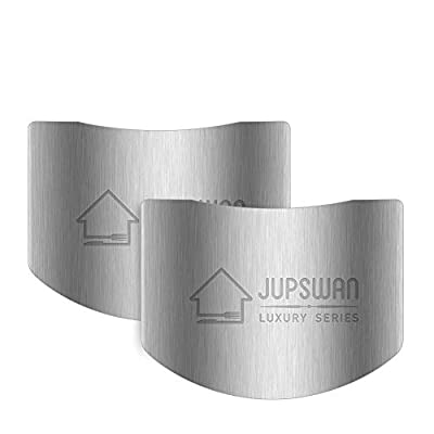 Jupswan Finger Guards for Cutting Kitchen Tool Stainless Steel Finger Guard Finger Protector Avoid Hurting When Slicing and Dicing 2 Pack
