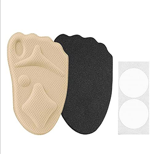 DOUJIAO 4d Half Plantillas,Sole High Heel Pie Foot Pie Anti-Slip Blindle Damas Proteger Ped Pad Protección de inserción Suave (1 par) 210914 (Color : Beige)