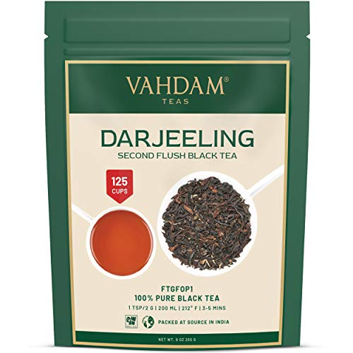 VAHDAM, hojas de te negro Darjeeling de Himalaya, 255 gramos (mas de 120 tazas), te Darjeeling puro 100% certificado, te de hojas sueltas de grado FTGFOP1, de la India